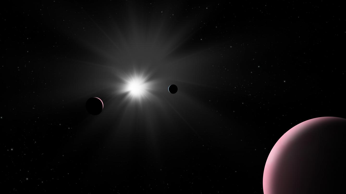 Artist's impression of the Nu2 Lupi planetary system