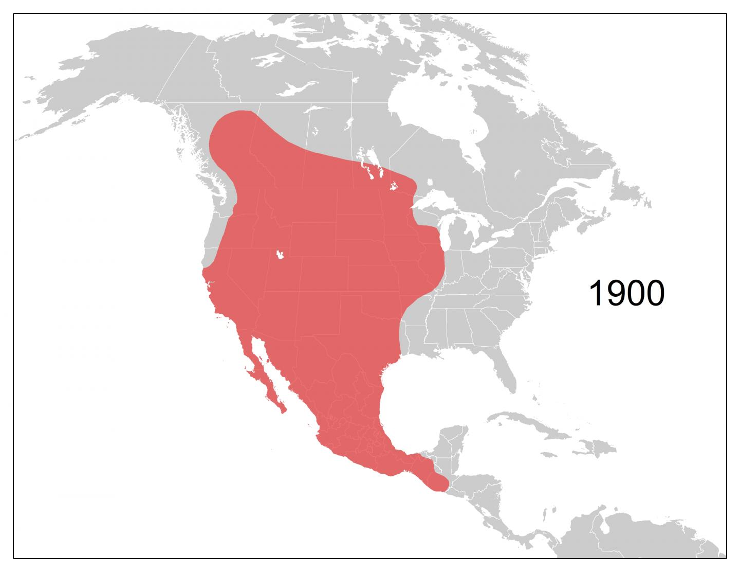 Coyote Range Expansion by Decade, 1900-2016