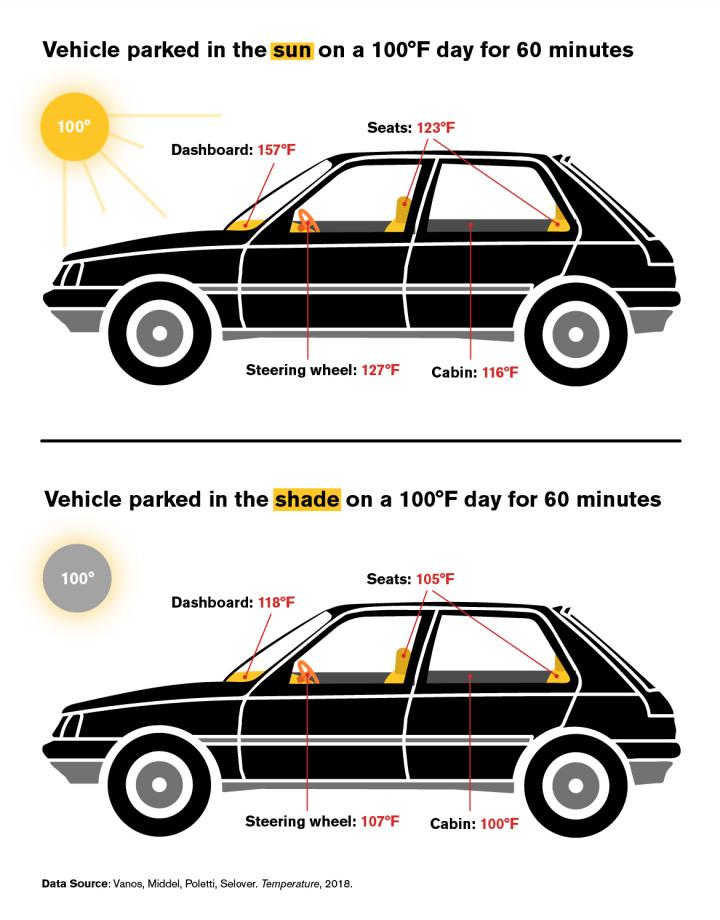 How Hot is a Car After One Hour in the Sun or Shade?