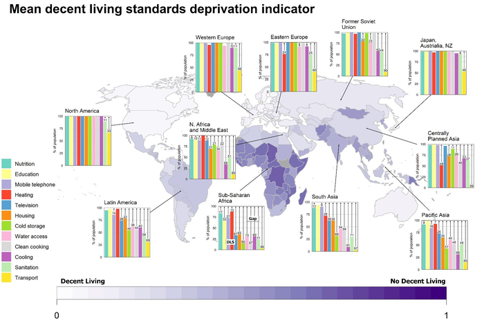 Map showing the mean Decent Living Standards (DLS) deprivation indicator for each country from zero to one.