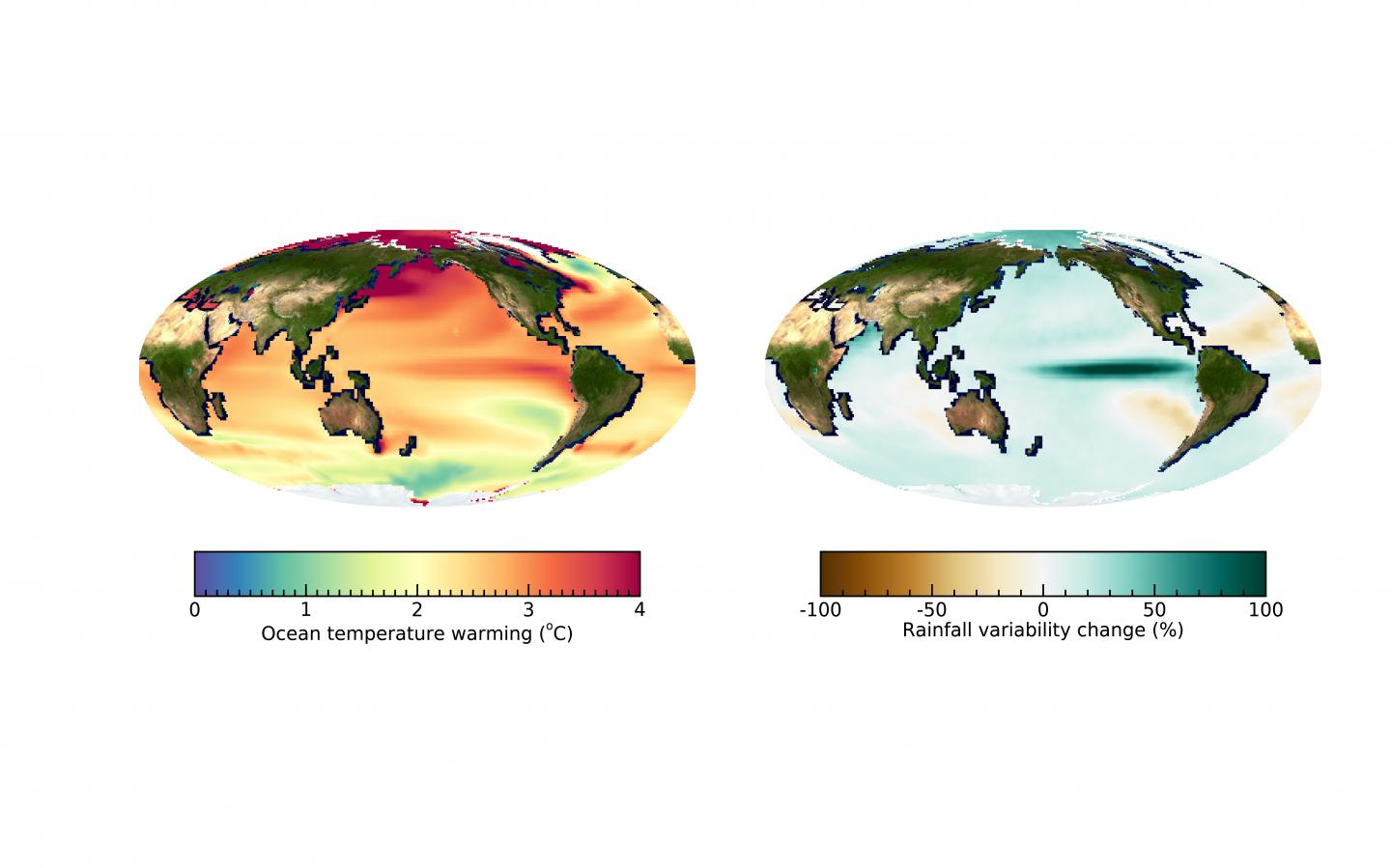 Global ocean warming pattern and change in year-to-year rainfall variability