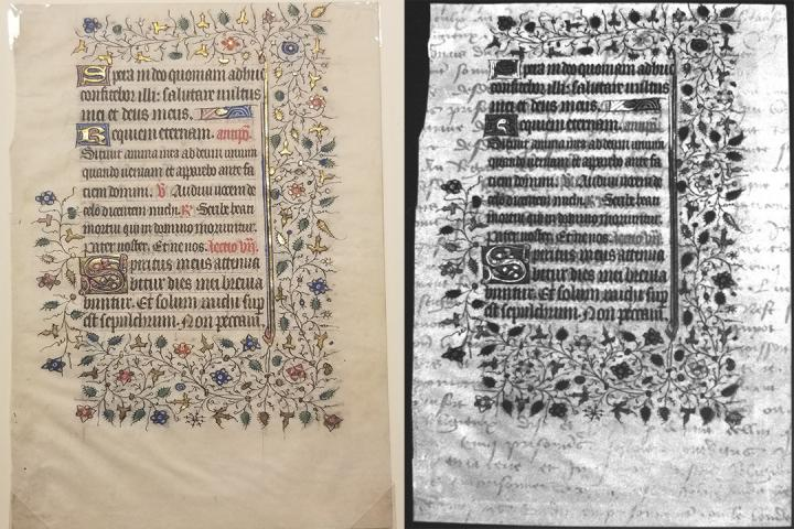 Manuscript on parchment with multiple layers of writing