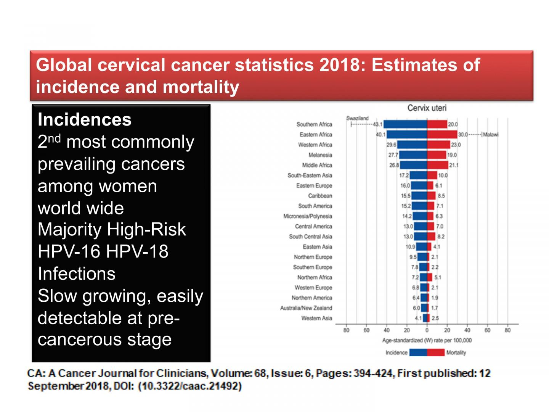 Global Cervical Cancer Statistics 2018