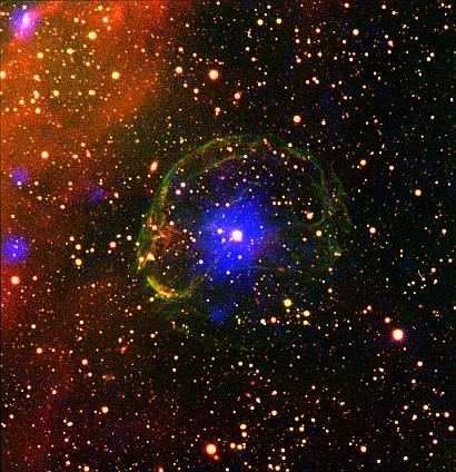 Composite Image of the X-ray Pulsar SXP 1062 Surrounded by the Supernova Remnant
