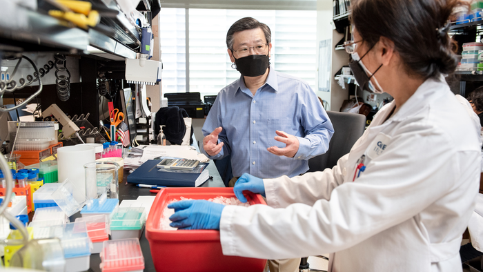 Scientist Yadong Huang in his lab at Gladstone Institutes