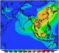 Pollution in Asia from 2004-2005