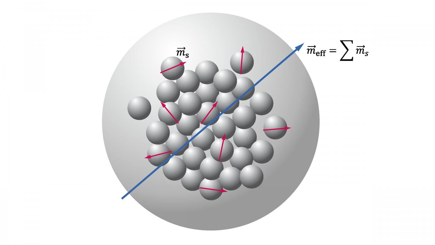 Schema of Multicore Magnetic Nanoparticle Comprising N Randomly Oriented Magnetic Crystallites