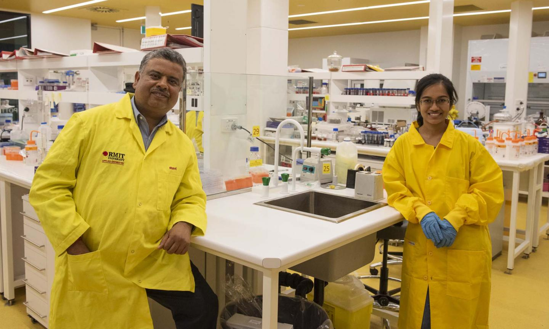 L-R: Associate Professor Ravi Shukla and PhD researcher Arpita Poddar in their lab.