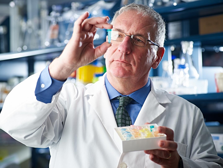 Eric Kmiec, Ph.D., in lab