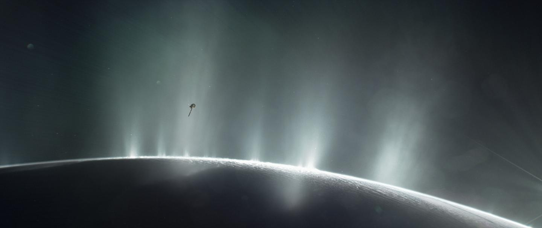 Illustration of Cassini flying through plumes on Enceladus