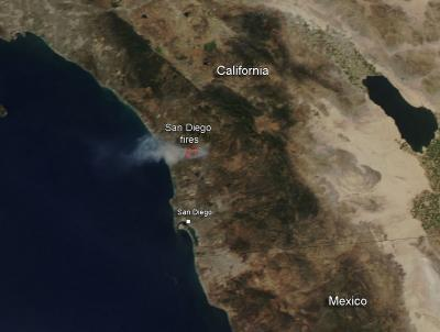 Fires in San Diego County, Calif.