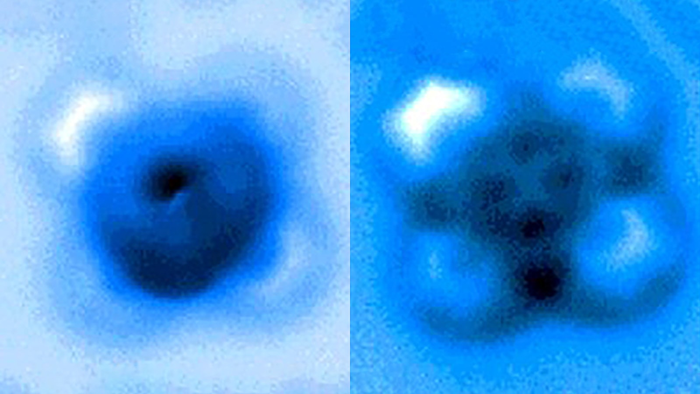 Iron phthalocyanine molecule before and after bond rupture