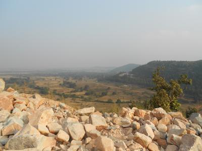 Study Site Landscape with Boulders of the Paleosol in Foreground