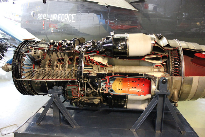 An internal view of a jet engine