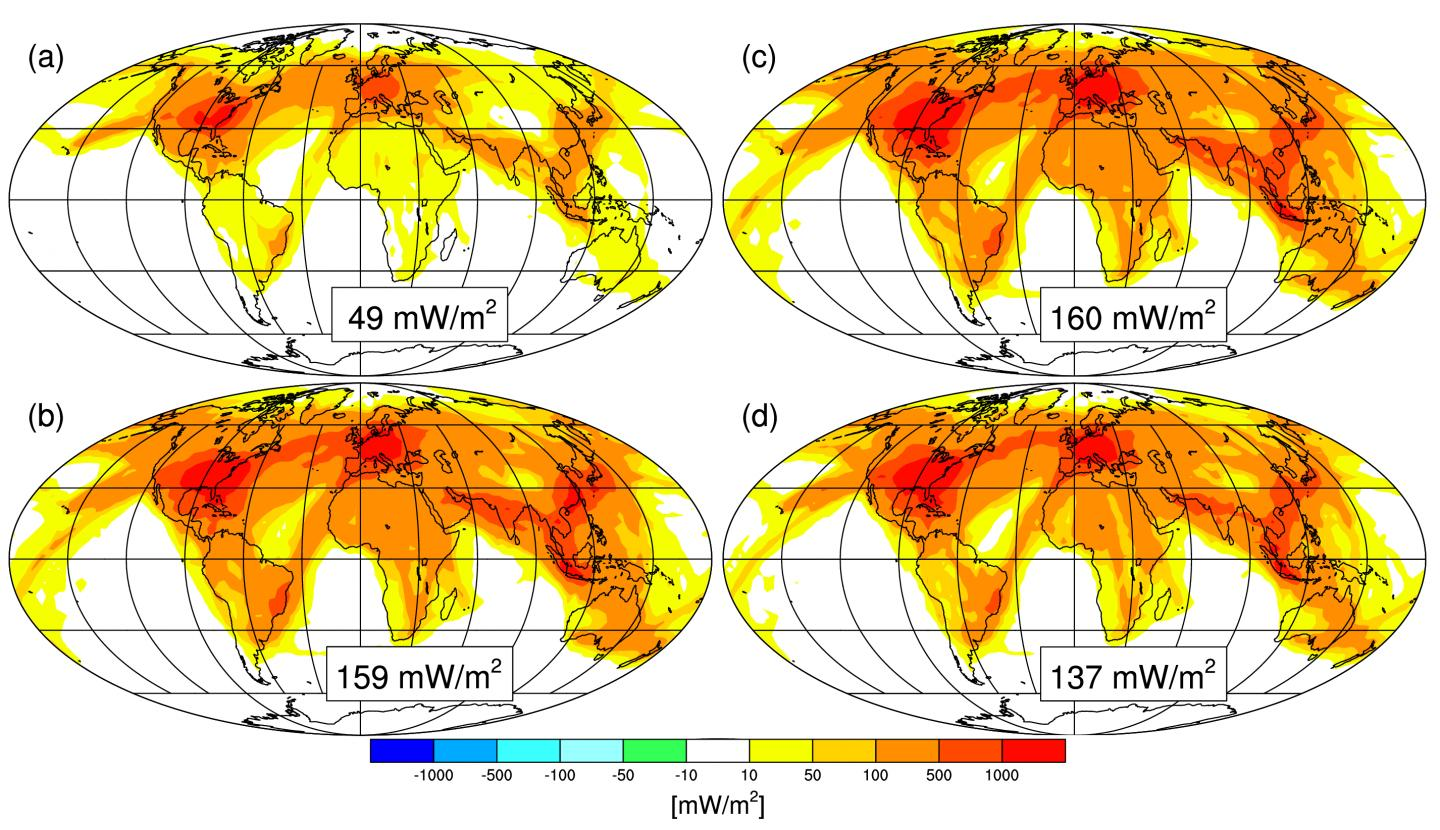 Simulation Results: Radiative Forcing Due to the Formation of Contrails