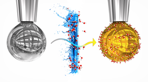 Artistic rendering of a pure sodium-potassium alloy drop and a drop with a layer of water, in which electrons liberated from the metal dissolved