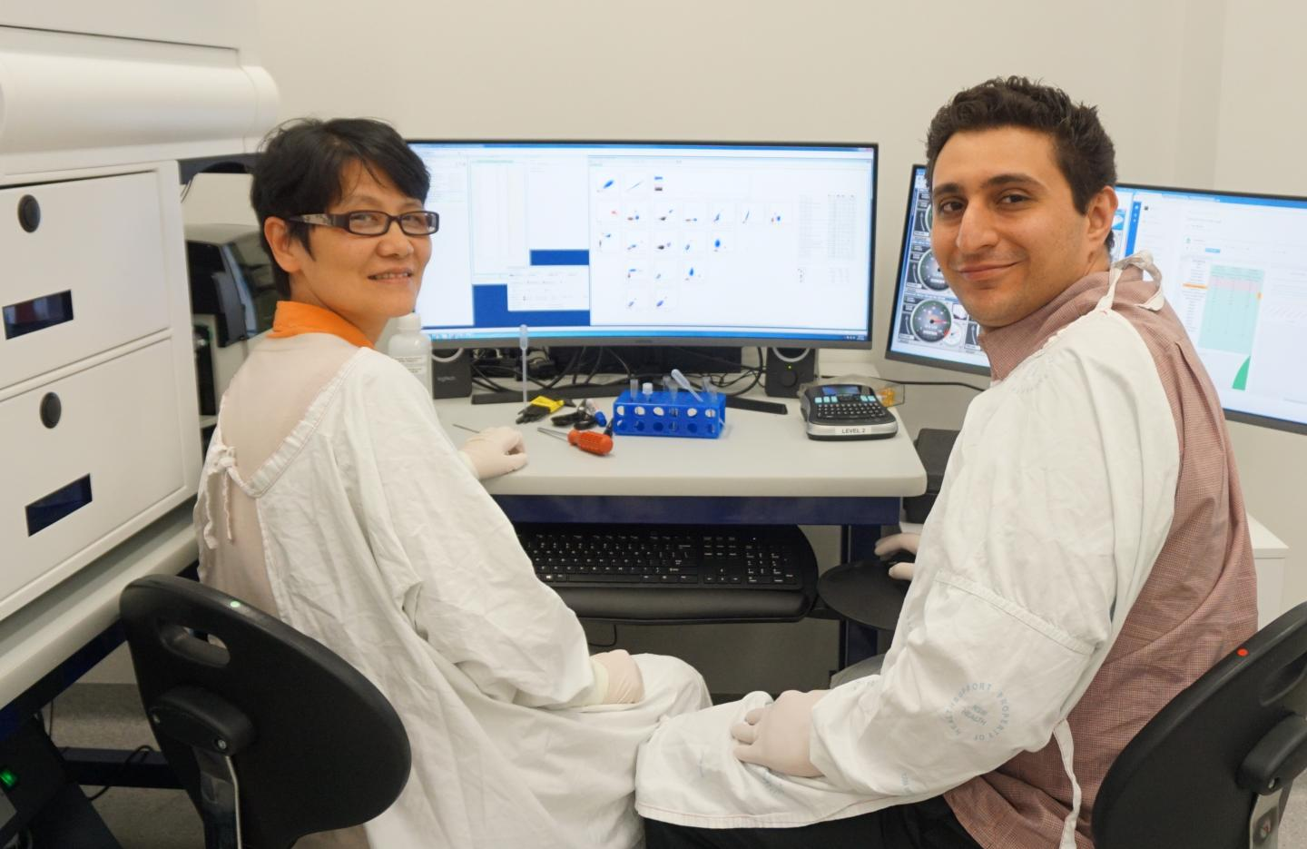 Researchers Dr. Min Hu and Suat Dervish, Westmead Institute for Medical Research