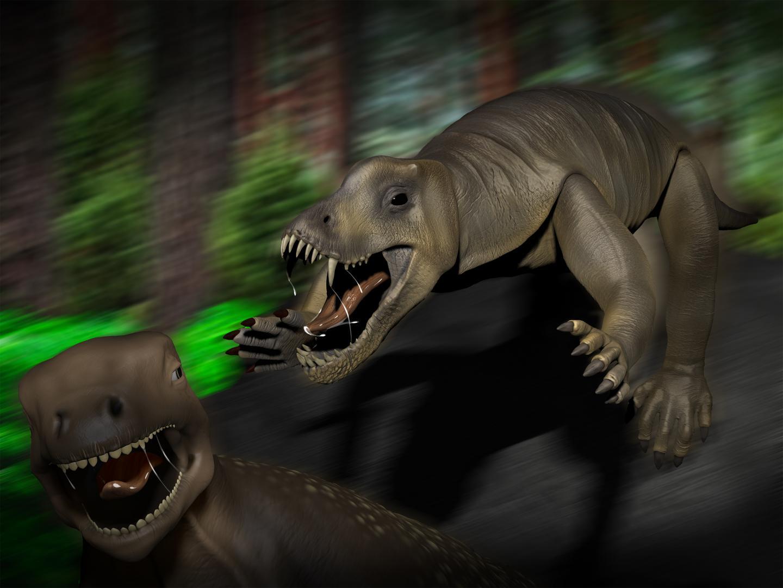 Anteosaurus attacking