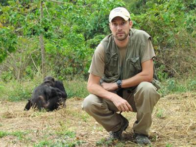 Ian Gilby in the Field with Chimpanzees