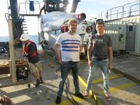 Cedric Hahn and Gunter Wegener in front of the Submersible ALVIN