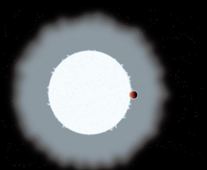 Artist's impression of an ultra-hot Jupiter exoplanet, WASP-33b. Image credit Astrobiology Center