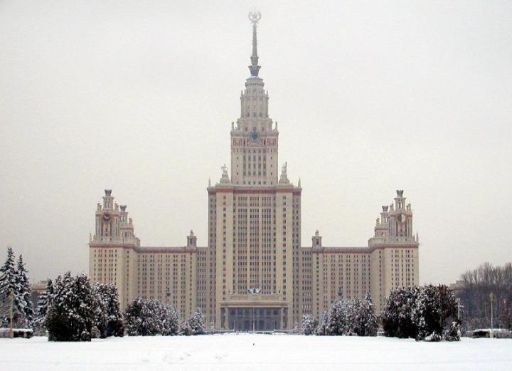 Lomonosov Moscow State University Main Building in Winter