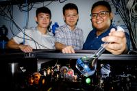 Loh Zhi-Heng with his NTU Research Team, Where They Are Conducting Tabletop Experiments on Water