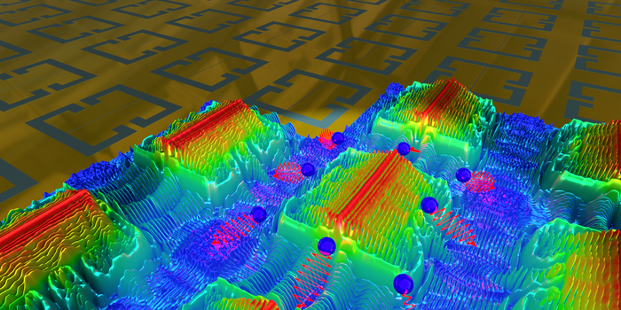 Metasurface of split-ring resonators, partially overlaid with 3D colourmaps showing the simulated electric-field distribution
