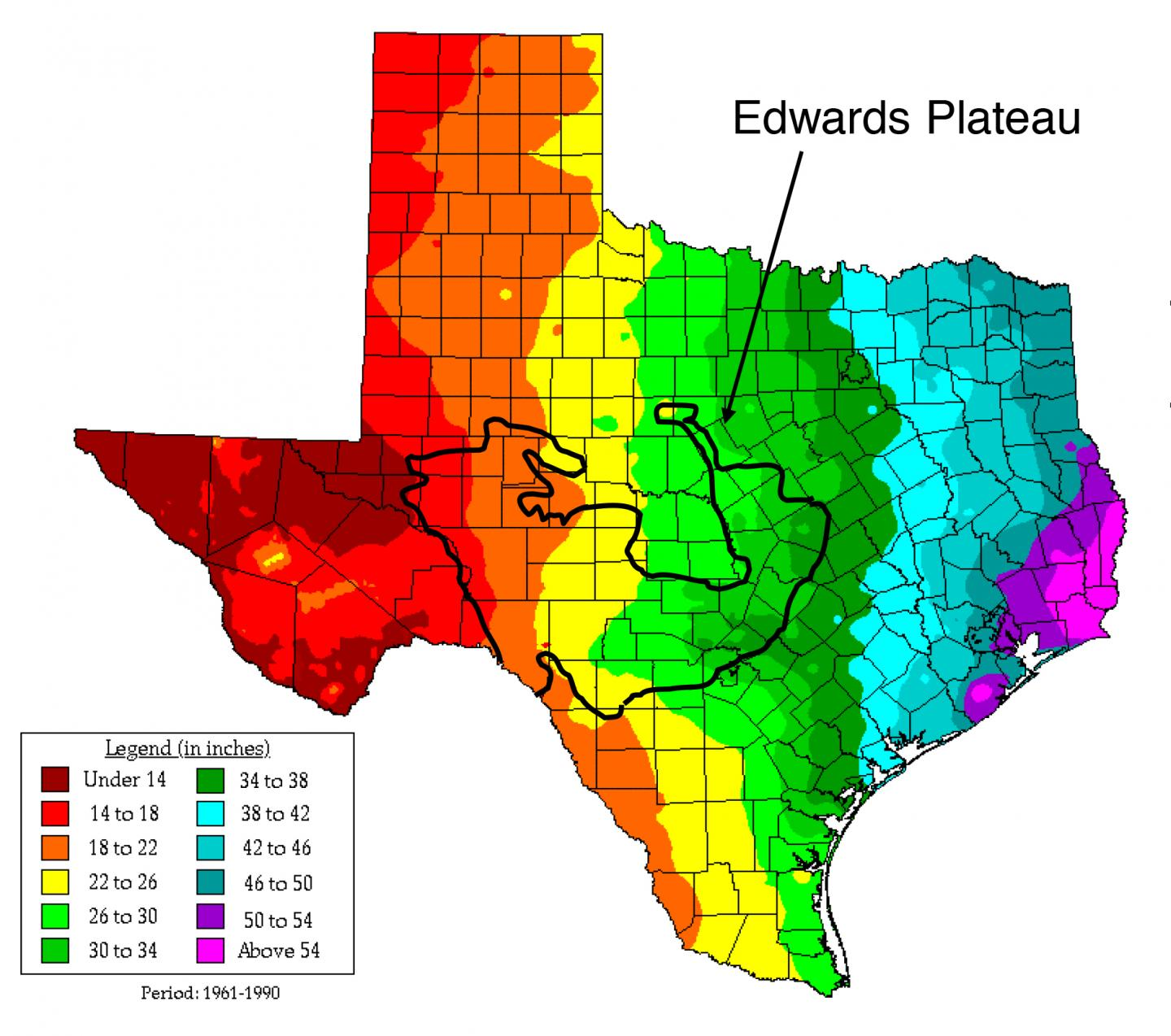 Map of Soil Sampling Locations along the Edwards Plateau
