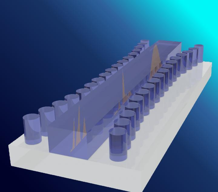 Artist's Impression of the Bragg Gated Structure on a Silicon Substrate