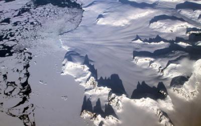 Aerial Image of Glaciers in the Antarctic Peninsula