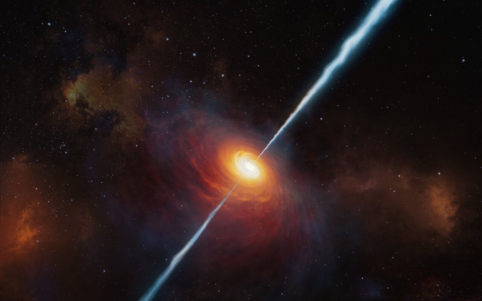 Artistic representation of an active galaxy jet
