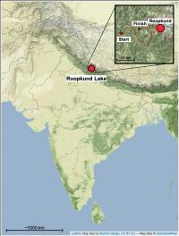 Map Showing Location of Roopkund Lake in the Himalayas