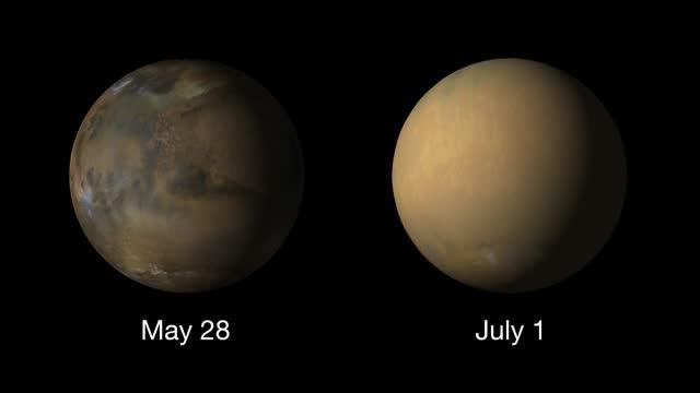 Side-by-side movies show how the 2018 global dust storm enveloped the Red Planet