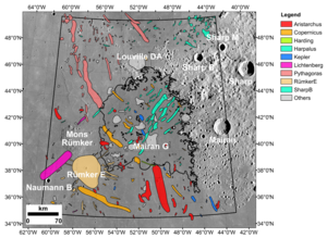 Location of the Chang'e-5 landing site, showing nearby impact craters that were examined as possible sources of exotic fragments among the recently returned lunar materials