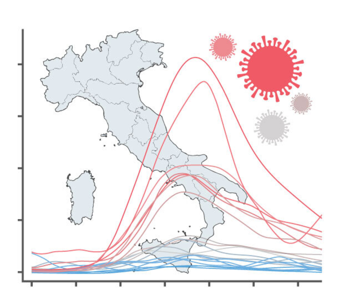 Mortality graph and Italy map