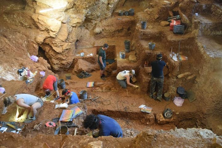 View of the excavation of the early modern human (foreground) and Neanderthal layers (background)