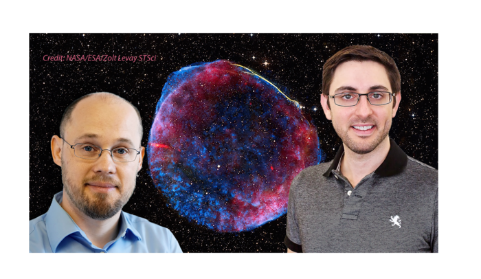 Physicist with supernova remnant behind them.