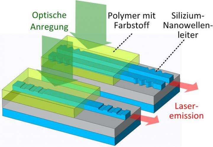 Organic Laser on a Silicon Photonic Chip: Optical Excitation from Above Generates Laser Light in the