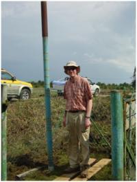 Subsidence Pole Inserted in Peatland in Johor, Peninsular Malaysia