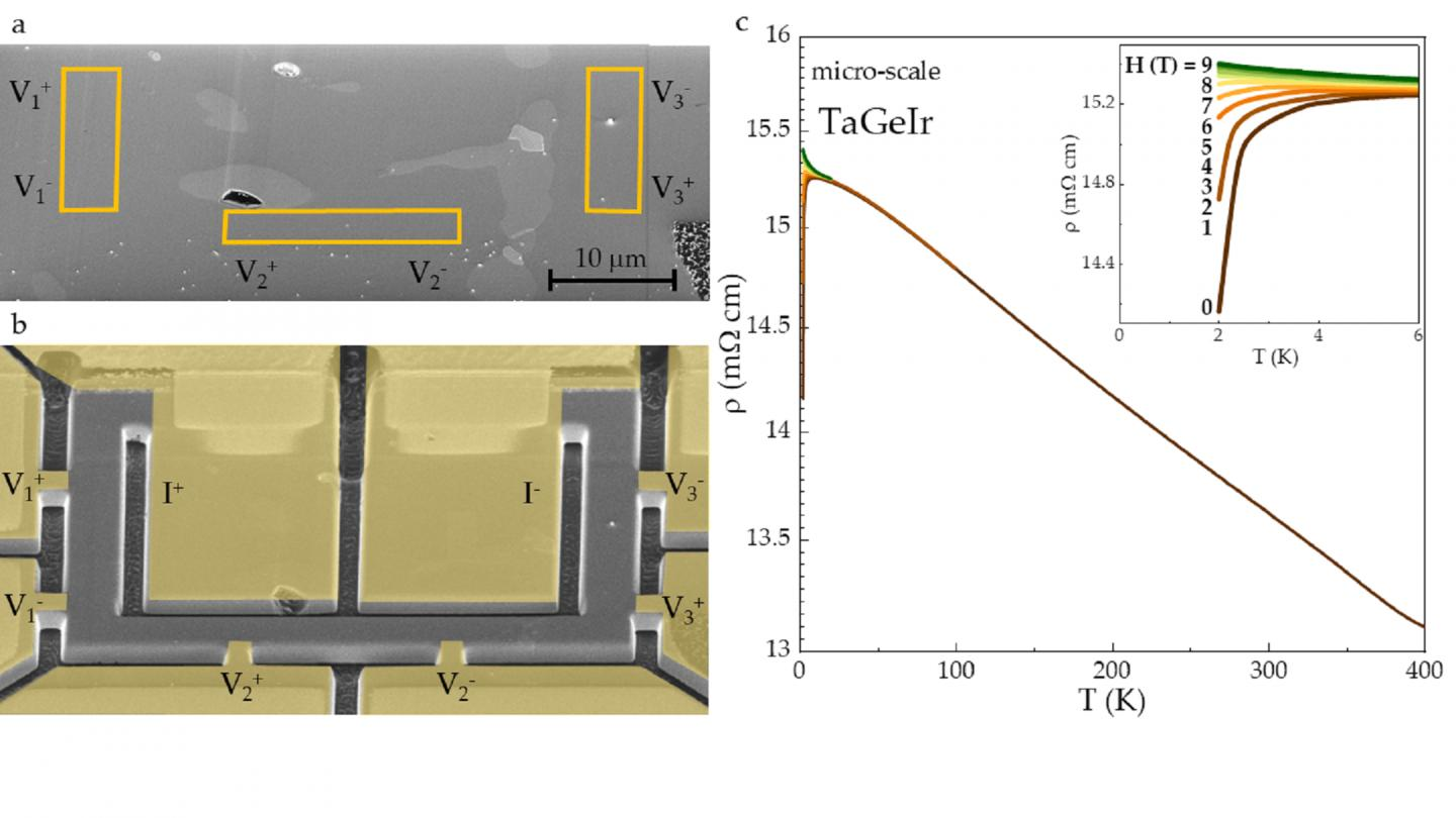 Micro-scale device manufactured of polycrystalline TaGeIr
