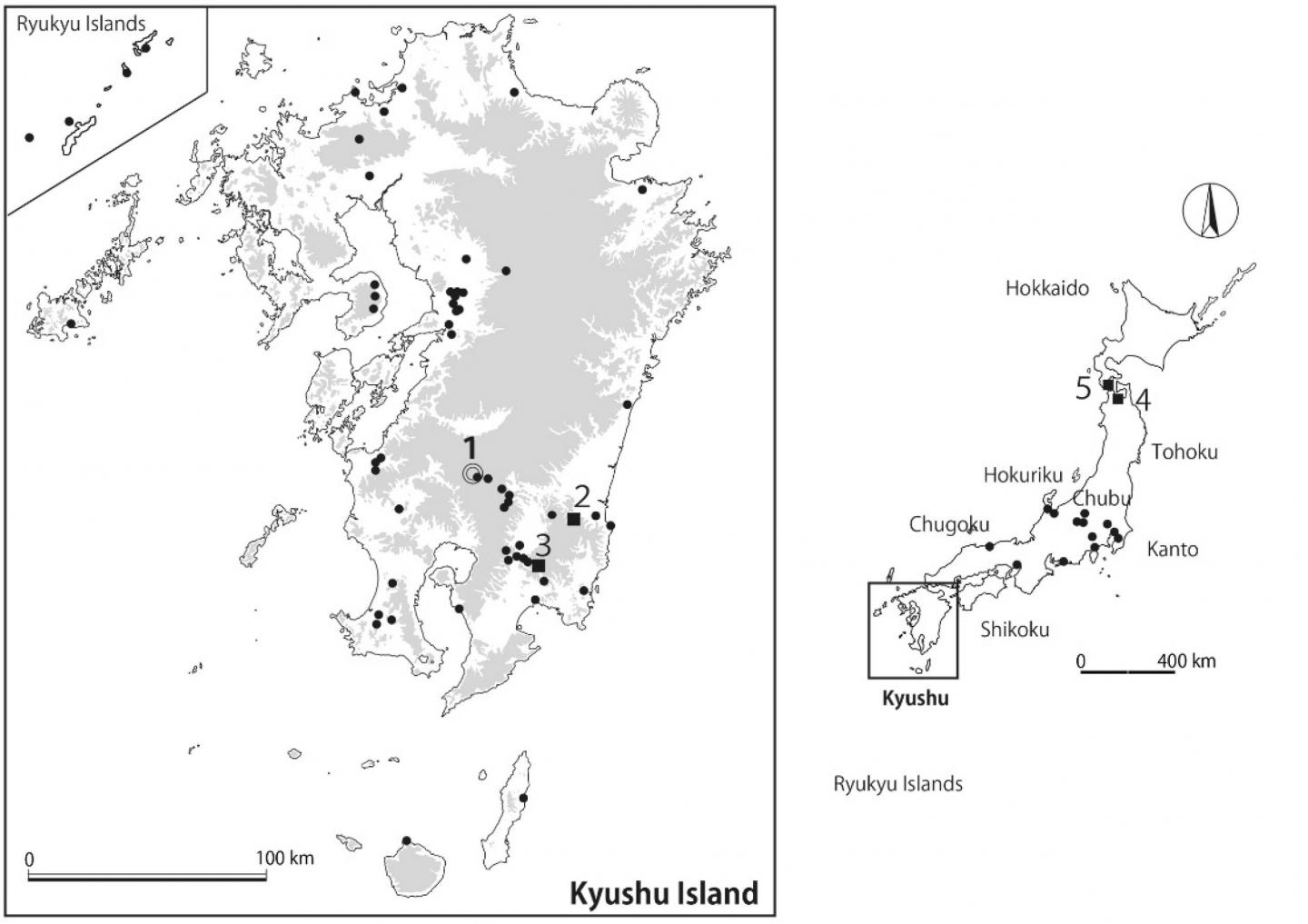 Locations of insect-infused pottery around Japan