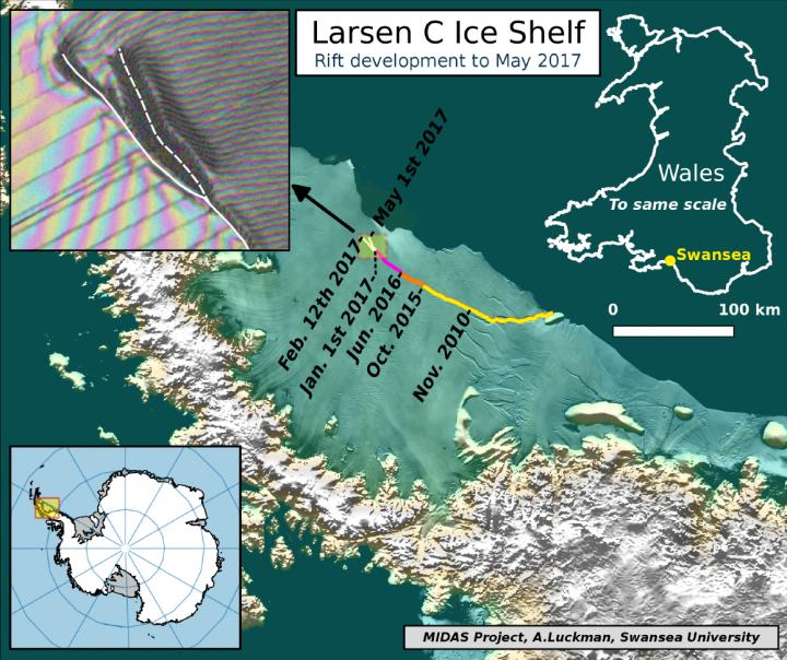 The Current Location of the Rift on Larsen C, as of May 1 2017, Showing the New Branch