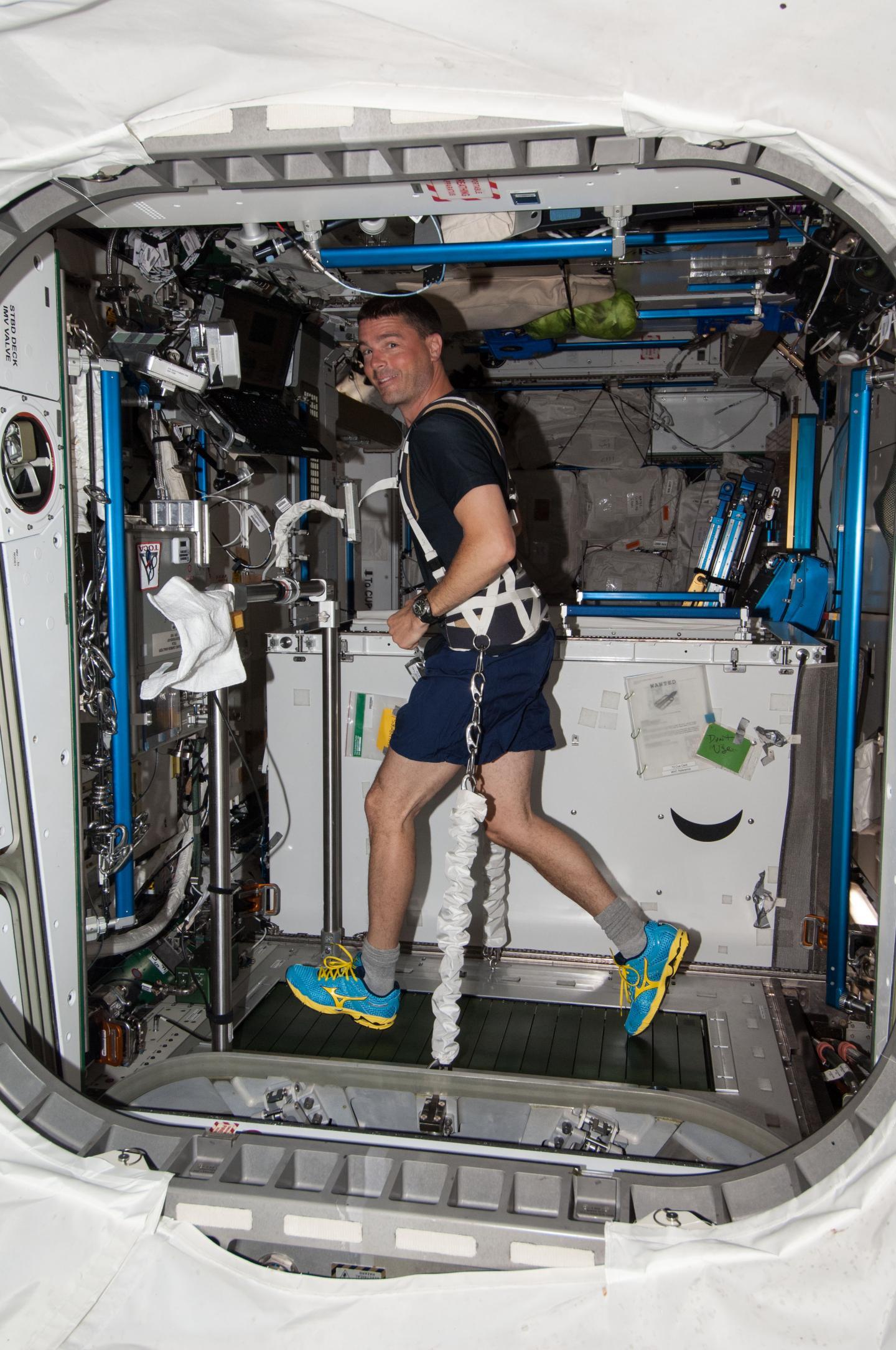 NASA Astronaut Exercises in Space