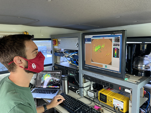 OU graduate student Addison Alford is operating the radar.