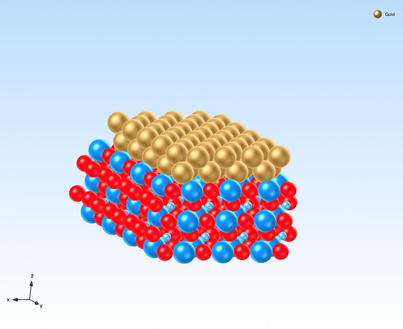 Atomic model of a Au-SrTiO3 Schottky interface.
