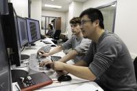 Nianshuang Wang and Daniel Wrapp Collect Cryo-EM Data