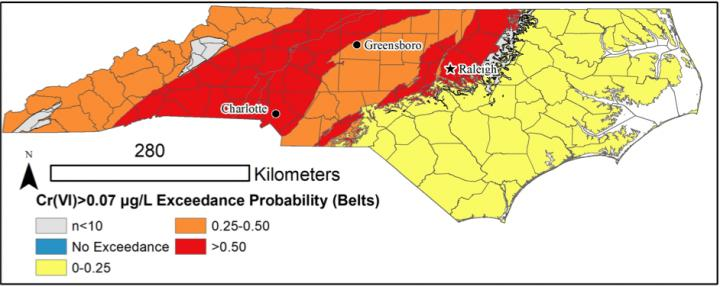 Hexavalent Chromium Probability Map for NC
