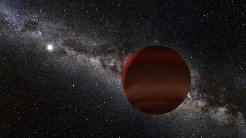 Artist's impression of a brown dwarf orbiting a white dwarf