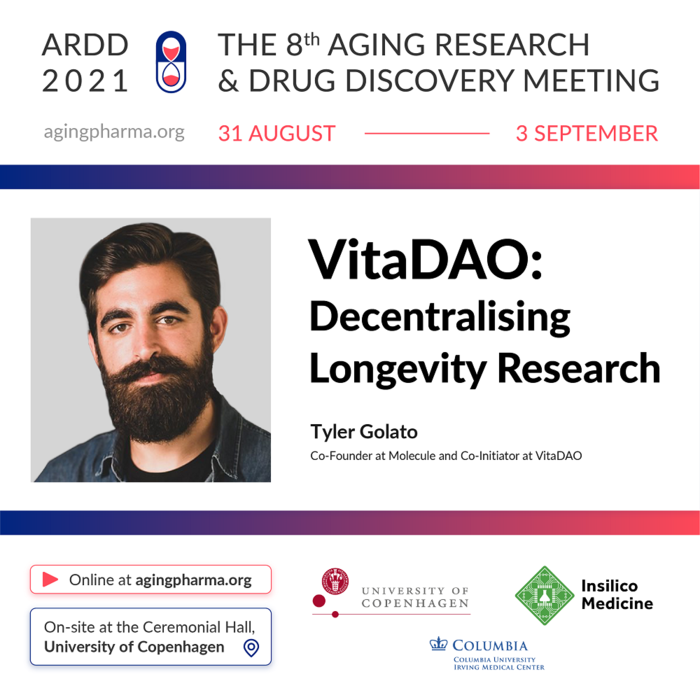 Tyler Golato to present at the 8th Aging Research & Drug Discovery Meeting 2021